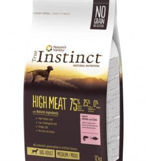 Суха храна TRUE INSTINCT HIGH MEAT SALMON WITH TUNA MEDIUM/MAXI ADULT за кучета средни и едри породи над 12 м, без зърно, сьомга и тон, 12 kg