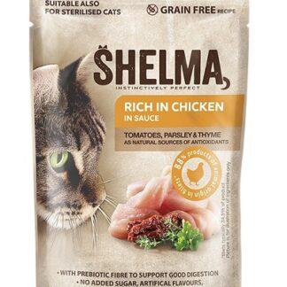 Пауч SHELMA STEAMED FILLETS CHICKEN, TOMATO AND HERBS IN SAUCE за котки над 12 м, пиле, домати и билки, 28х85 g