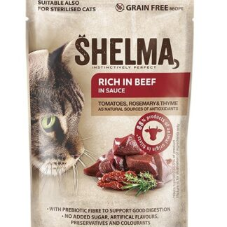 Пауч SHELMA STEAMED FILLETS BEEF, TOMATO AND HERBS IN SAUCE за котки над 12 м, говеждо, домати и билки, 28х85 g