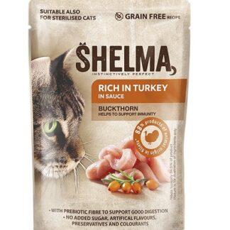 Пауч SHELMA STEAMED FILLETS TURKEY WITH BUCKTHORN IN SAUCE за котки над 12 м, пуйка и зърнастец, 28х85 g