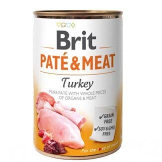 Консерва BRIT PATE & MEAT TURKEY за кучета над 12 м, хапки в пастет, пуйка, 6 x 400 g