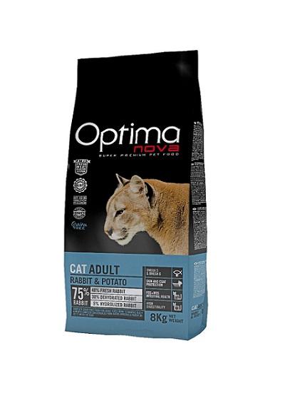 Суха храна OPTIMA NOVA CAT ADULT RABBIT & POTATO за котки над 12 м, без зърно, заек и картофи