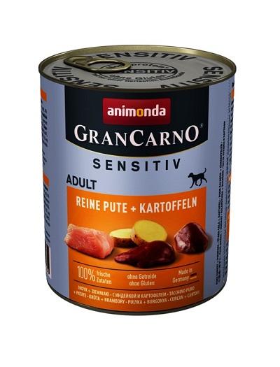 Консерва GRANCARNO SENSITIV ADULT PURE TURKEY AND POTATOES монопротеин пуйка с картофи, 800 g