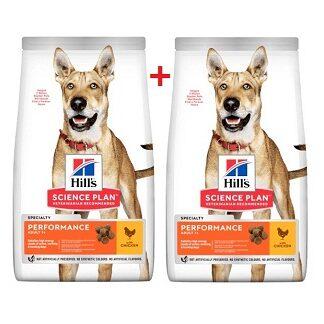 2 броя суха храна HILLS SCIENCE PLAN ADULT PERFORMANCE активни кучета над 12 м с пиле, 12+2 kg
