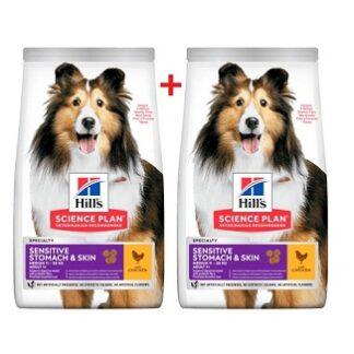 2 броя суха храна HILLS SCIENCE PLAN ADULT MEDIUM SENSITIVE STOMACH&SKIN кучета над 12 м с чувствителен стомах и кожа, 11+3 kg